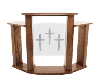 Wood with Acrylic Pulpit 778 Exhorter-Wood With Acrylic Pulpits, Podiums and Lecterns-Podiums Direct