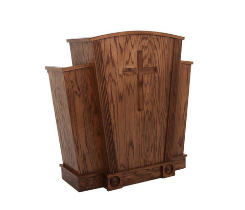 Church Wood Pulpit Victory Style with Fluting 310-Church Solid Wood Pulpits, Podiums and Lecterns-Podiums Direct