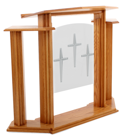Wood with Acrylic Pulpit w/Wings 702 Proclaimer-Wood With Acrylic Pulpits, Podiums and Lecterns-Podiums Direct