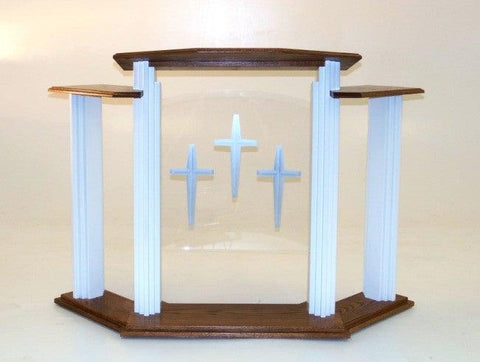702W Proclaimer Pulpit w/Wings & Acrylic Center FREE SHIPPING