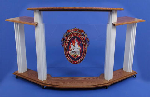 Wood with Acrylic Pulpit w/Wings 703W Proclaimer-Wood With Acrylic Pulpits, Podiums and Lecterns-Podiums Direct