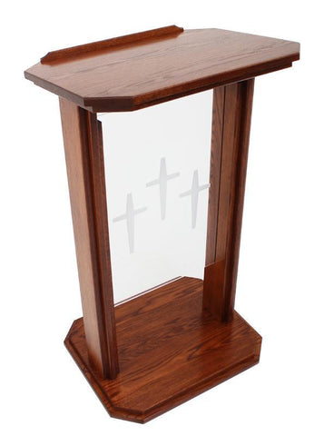 Wood with Acrylic Preaching Stand-704 Proclaimer-Wood With Acrylic Pulpits, Podiums and Lecterns-Podiums Direct