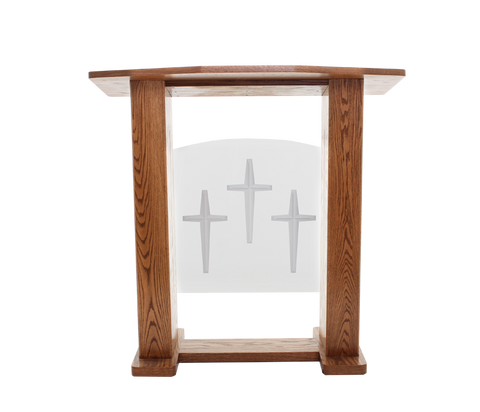 Wood with Acrylic Pulpit 777 Exhorter-Wood With Acrylic Pulpits, Podiums and Lecterns-Podiums Direct