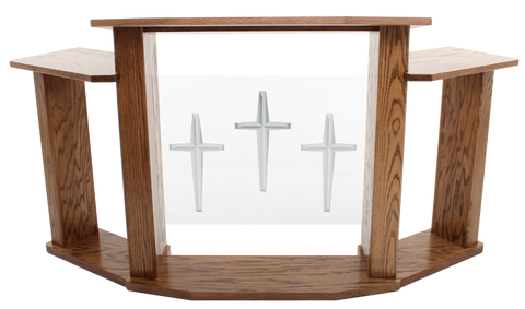 Wood with Acrylic Extra Wide Pulpit 779 Exhorter-Wood With Acrylic Pulpits, Podiums and Lecterns-Podiums Direct