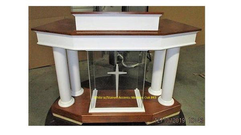 Wood With Acrylic Pulpit Customer NO. 810 WA-Front-Wood With Acrylic Pulpits, Podiums and Lecterns-Podiums Direct