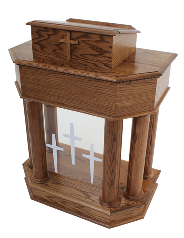 Wood with Acrylic Pulpit 830-Wood With Acrylic Pulpits, Podiums and Lecterns-Podiums Direct