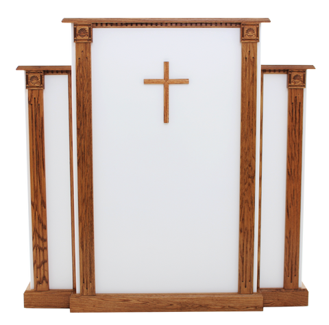 Church Wood Pulpit White w/Cross, Fluting & Scrollwork 900-W - FREE SHIPPING!