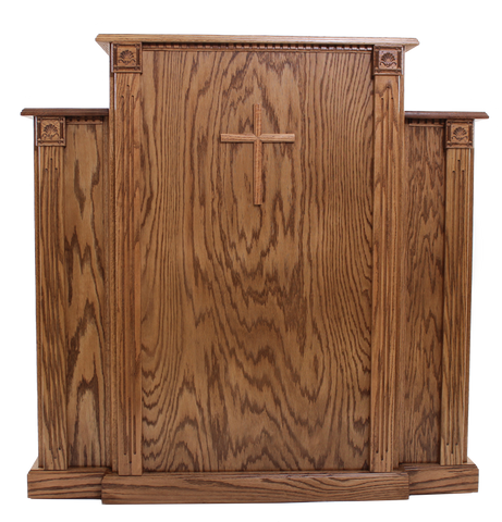 Church Wood Pulpit with Cross, Fluting and Scrollwork 900 - FREE SHIPPING!