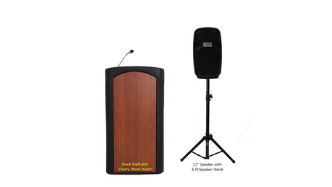 Contemporary Lectern and Podium Freedom-Black Shell Cherry Insert-Contemporary Lecterns and Podiums -Podiums Direct