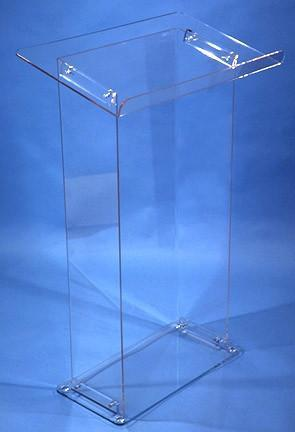 Acrylic Lectern KD Clear with Shelf-Acrylic Lecterns-Podiums Direct