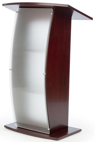 Wood with Acrylic Pulpit Curved Sides, Frosted Front Panel-Mahogany