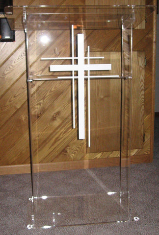 Acrylic Lectern KD Clear with Shelf and Three Cross Logo - FREE SHIPPING!