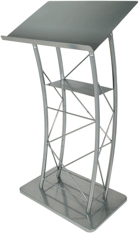 Metal Truss Lectern Large Silver Curved-Metal Truss Podiums and Lecterns-Podiums Direct