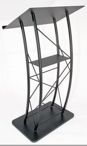 Metal Truss Lectern Curved. Color: Black-Metal Truss Podiums and Lecterns-Podiums Direct
