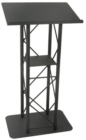 Metal Truss Lectern 4 Post Straight. Black-Metal Truss Podiums and Lecterns-Podiums Direct