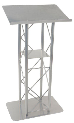 Metal Truss Lectern 4 Post Straight. Silver-Metal Truss Podiums and Lecterns-Podiums Direct