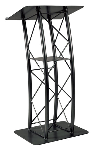 Metal Truss Lectern 4 Post Curved. Color: Black-Metal Truss Podiums and Lecterns-Podiums Direct