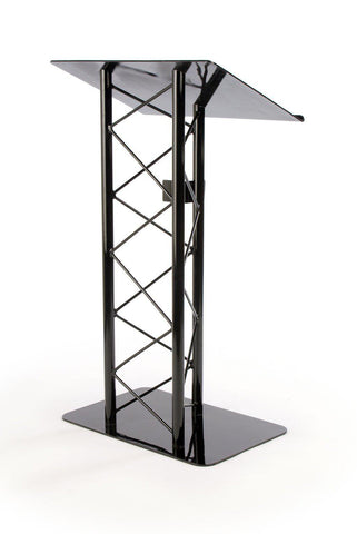 Economy Metal Truss Podium 3 Post Straight. Color: Black
