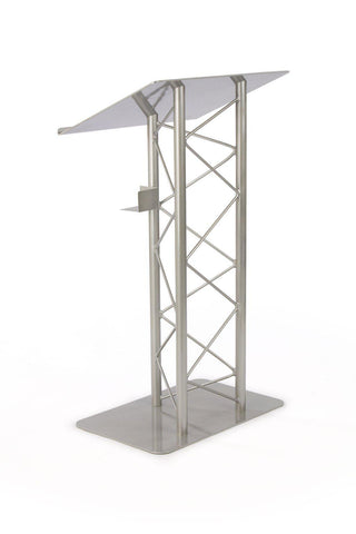 Economy Metal Truss Podium 3 Post Straight. Color: Silver