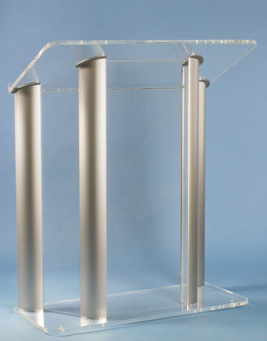 Contemporary Acrylic and Aluminum Podium Large Alumacrylic