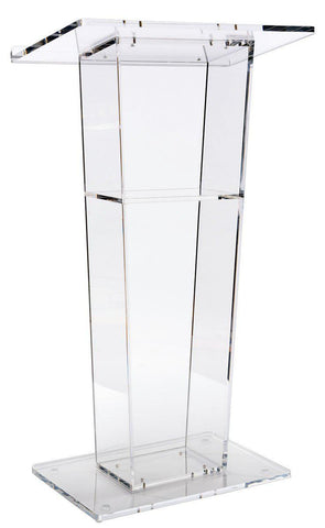 Clear Acrylic Podium with Open Back and Shelf