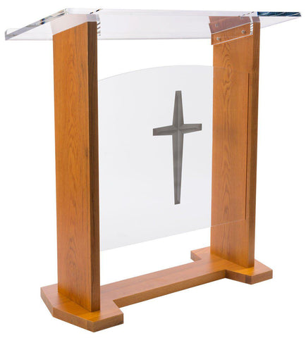 Large Acrylic and Maple Wood Podium. Optional Cross or Plain Front Panel