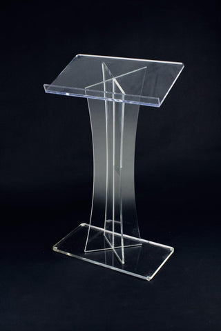 Acrylic Lectern X Style-Acrylic Pulpits, Podiums and Lecterns-Podiums Direct