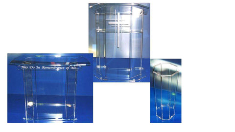 Church Pulpit Set Acrylic Model E-Pulpit Sets-Podiums Direct