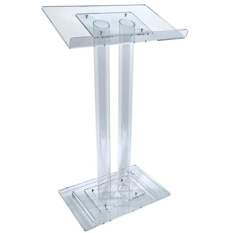 Acrylic Lectern 2 Column-Acrylic Pulpits, Podiums and Lecterns-Podiums Direct