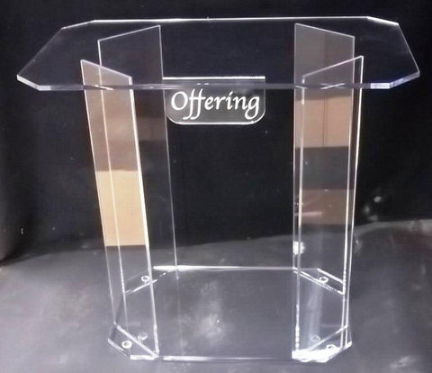 Offering Table Clear Acrylic with Inscription-Tithe Boxes,Baptismal Font, Flower Stands, and Offering Tables-Podiums Direct