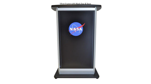 LCD Digital Display Lectern H2W Aluminum Lectern-Front-LCD Digital Display Lecterns-Podiums Direct