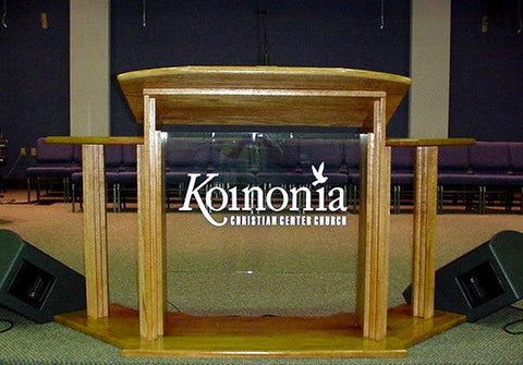 Wood with Acrylic Pulpit w/Wings 703 Proclaimer-Wood With Acrylic Pulpits, Podiums and Lecterns-Podiums Direct