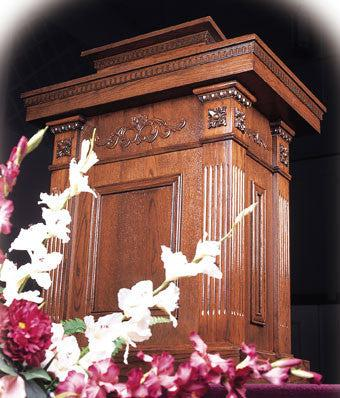 Church Wood Pulpit Tiered TSP-120-Church Solid Wood Pulpits, Podiums and Lecterns-Podiums Direct