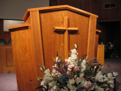 Church Wood Pulpit Victory Style V Shape with Fluting 300-Church Solid Wood Pulpits, Podiums and Lecterns-Podiums Direct