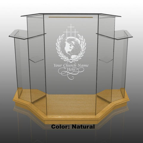 Glass Pulpit NC1/NC1G Prestige WINGED-Glass Pulpits, Podiums and Lecterns and Communion Tables-Podiums Direct
