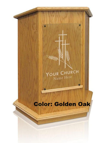 Church Wood Pulpit NC10W/NC10WG Prestige FOUNDATION with Glass -Church Solid Wood Pulpits, Podiums and Lecterns-Podiums Direct
