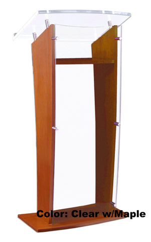 Wood with Acrylic Public Speaking Stand-Wood With Acrylic Pulpits, Podiums and Lecterns-Podiums Direct