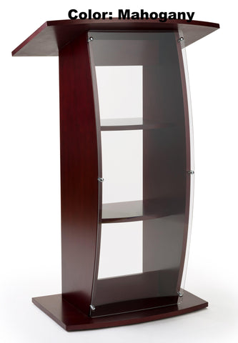Wood with Acrylic Pulpit Curved Sides, Clear Front Panel.