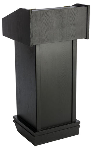 Valet Podium and Host Station, Rolling Hostess Stand. Color: Black