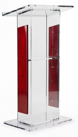 Acrylic Lectern Clear and Wood with Open Back and Shelf-Wood With Acrylic Pulpits, Podiums and Lecterns-Podiums Direct