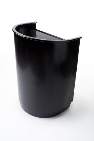 Non-Sound Curved Mobile Speech Lectern. Color: Black