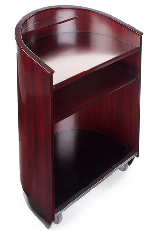 Non-Sound Curved Mobile Speech Lectern. Color: Mahogany