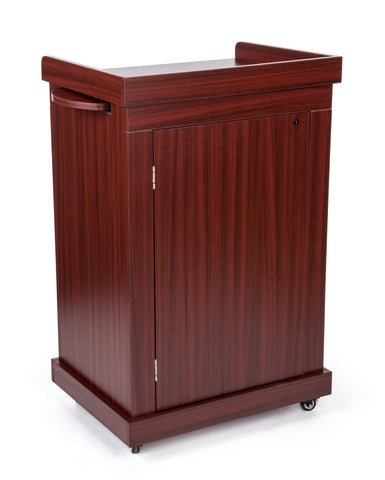Non Sound Mobile Presentation Lectern in Mahogany-Non Sound Podiums and Lecterns-Podiums Direct