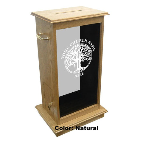 Glass Pulpit NC5/NC5G Prestige Offering Box-Glass Pulpits, Podiums and Lecterns and Communion Tables-Podiums Direct
