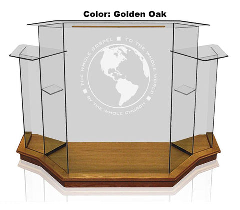 Glass Pulpit NC8WC/NC8CG Prestige Winged PRESTIGE-Glass Pulpits, Podiums and Lecterns and Communion Tables-Podiums Direct
