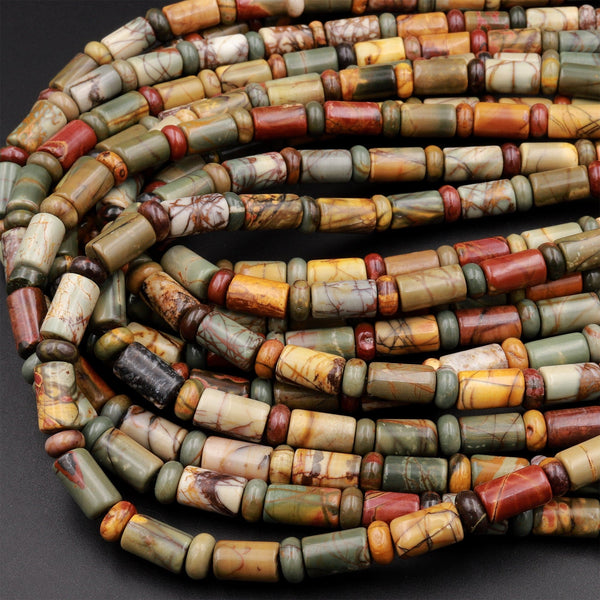 "Red Creek Jasper Bead Cylinder Rondelle Smooth Tube Earthy Red Green Yellow Brown Natural Cherry Creek Multi-color Picasso Jasper 16"" Strand"