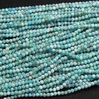 "Micro Faceted Tiny Small Natural Blue Larimar 3mm Faceted Round Beads Real Genuine Natural Larimar Gemstone Diamond Cut 16"" Strand"