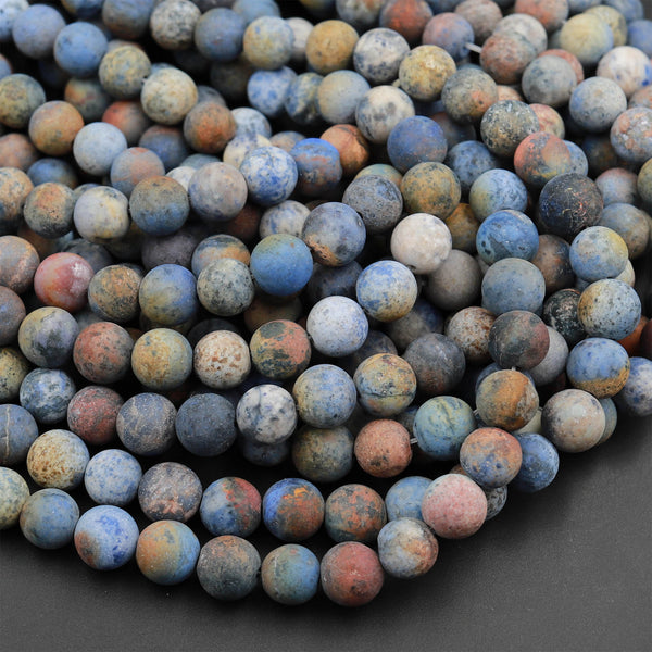 "Matte Finish Natural Sunset Dumortierite 4mm 6mm 8mm 10mm Matte Round Beads Earthy Blue Rusty Orange Red Jasper 16"" Strand"