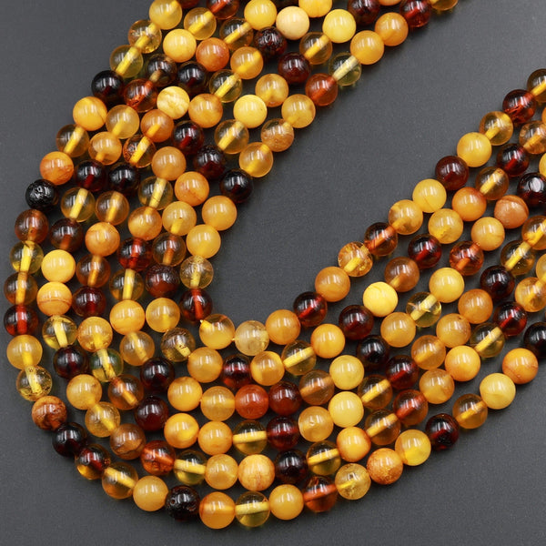 "Natural Baltic Amber Round Beads Honey Golden Yellow Amber Real Genuine Baltic Amber 4mm 6mm 8mm Round Smooth Polish Gemstone 16"" Strand"