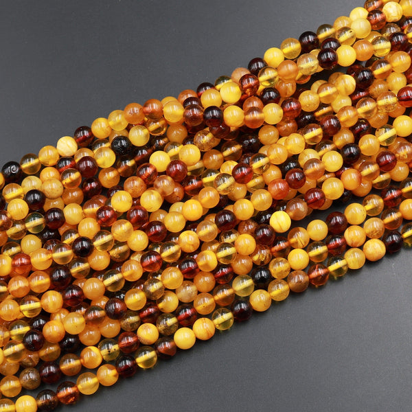 Natural Baltic Amber Loose Polished Beads Real Genuine Rounded Lemon Color